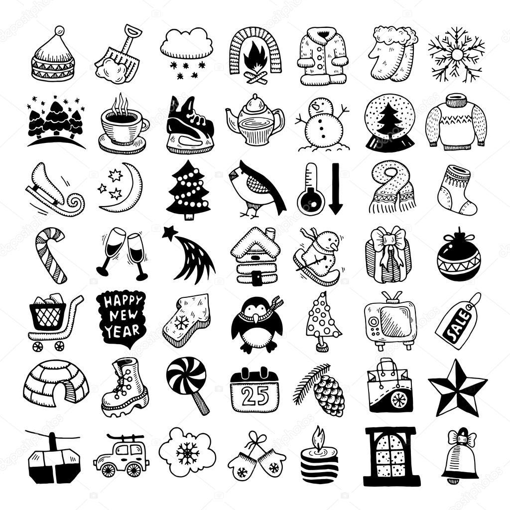 Hiver Dessin croquis main icônes hiver de dessin définie — image vectorielle