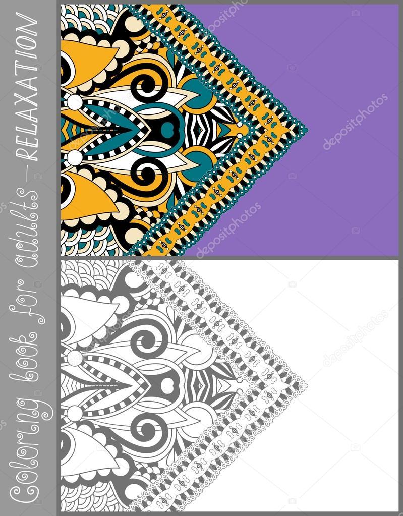 Coloring Seite eines Buches für Erwachsene - Blumenmuster paisley ...
