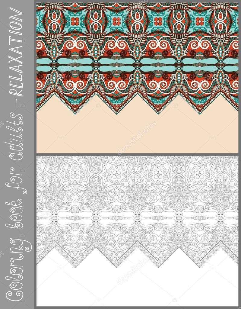 Benzersiz Boyama Kitabi Sayfa Yetiskinler Icin Cicek Desenli