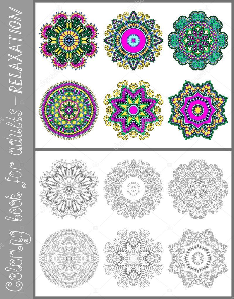 Страница книжки-раскраски для взрослых - цветок дизайн ...