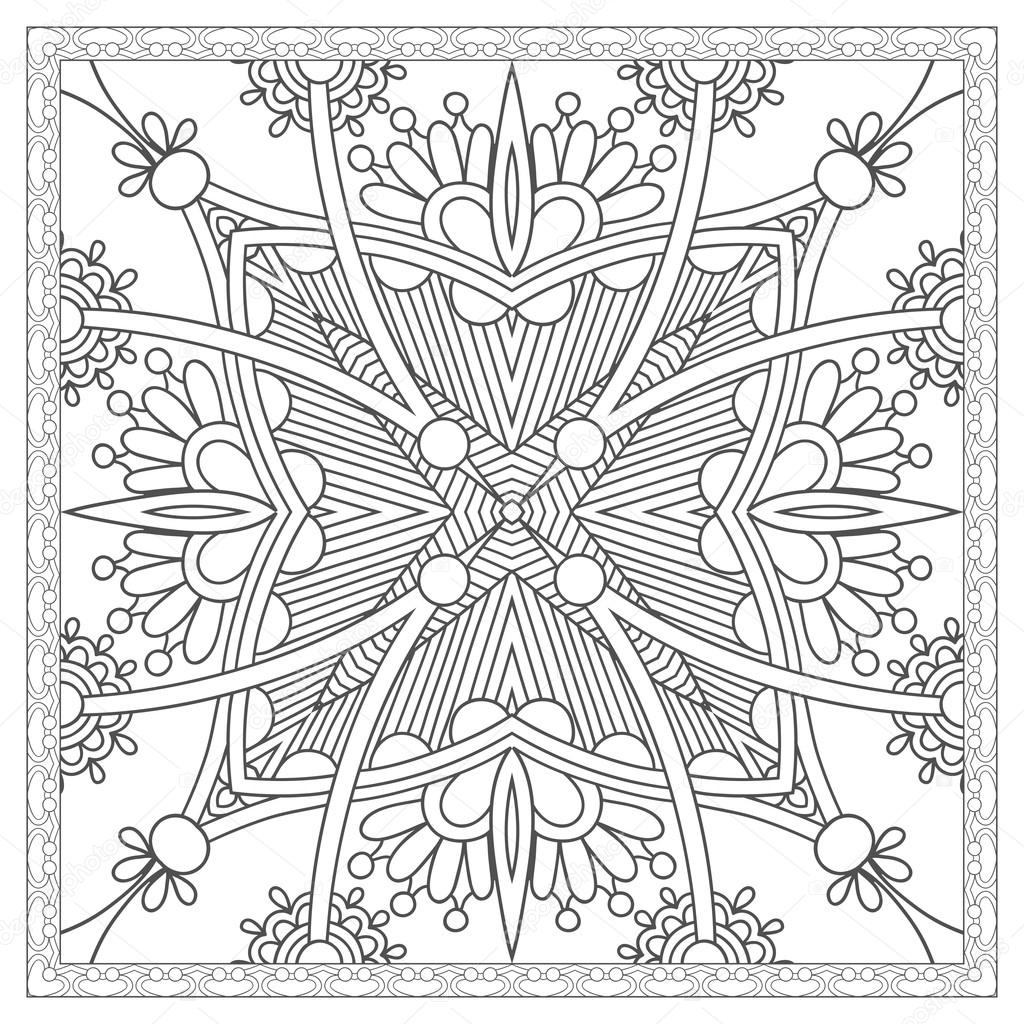 coloring book square page for adults - ethnic floral carpet desi ...