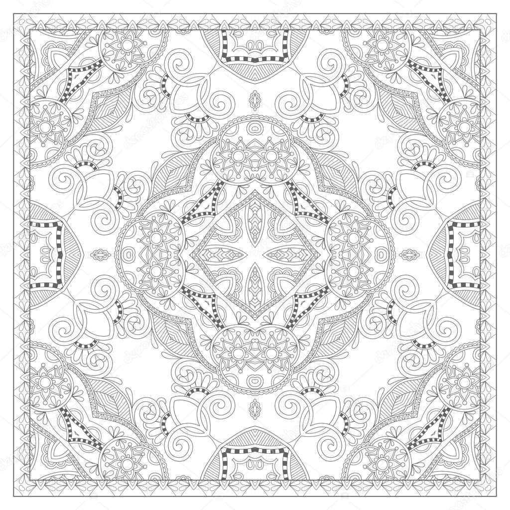 Coloring book square page for adults ethnic floral for Carpet coloring pages