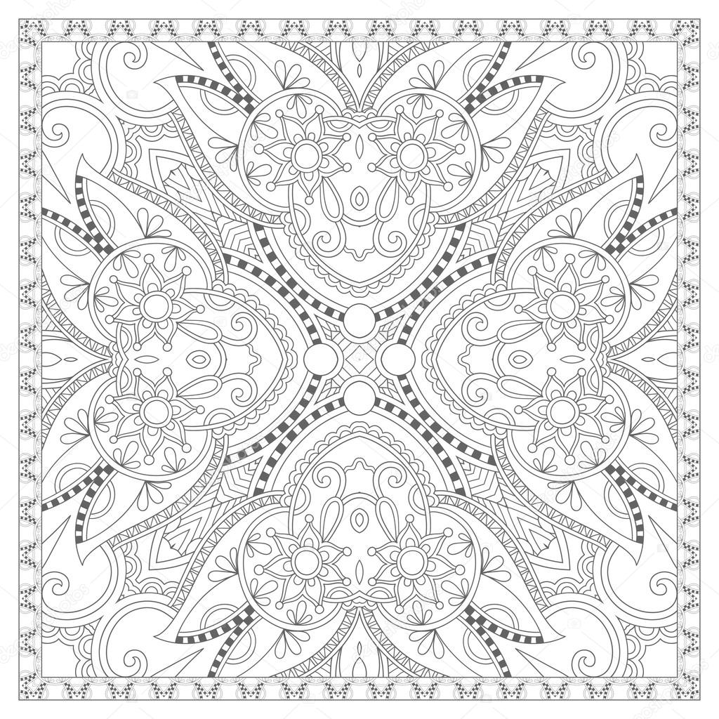 coloring book square page for adults - ethnic floral carpet — Stock ...