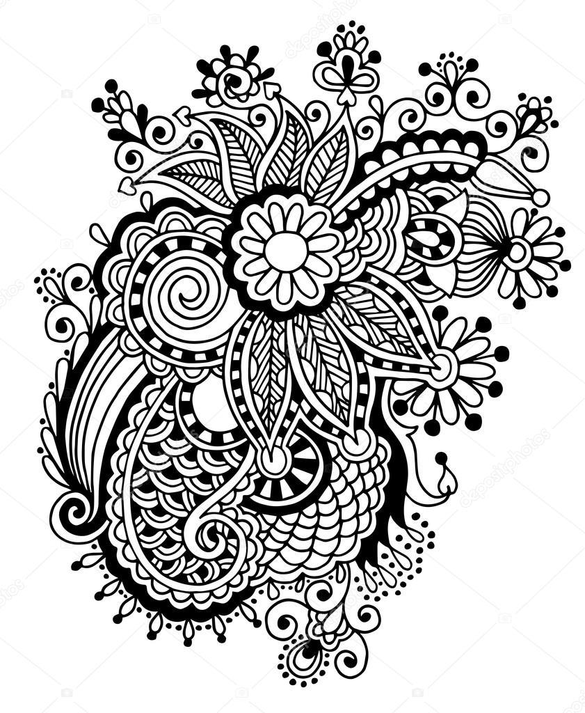 Line Art Design Kft : Mano disegnare disegno fiore ornato di bianco e nero linea