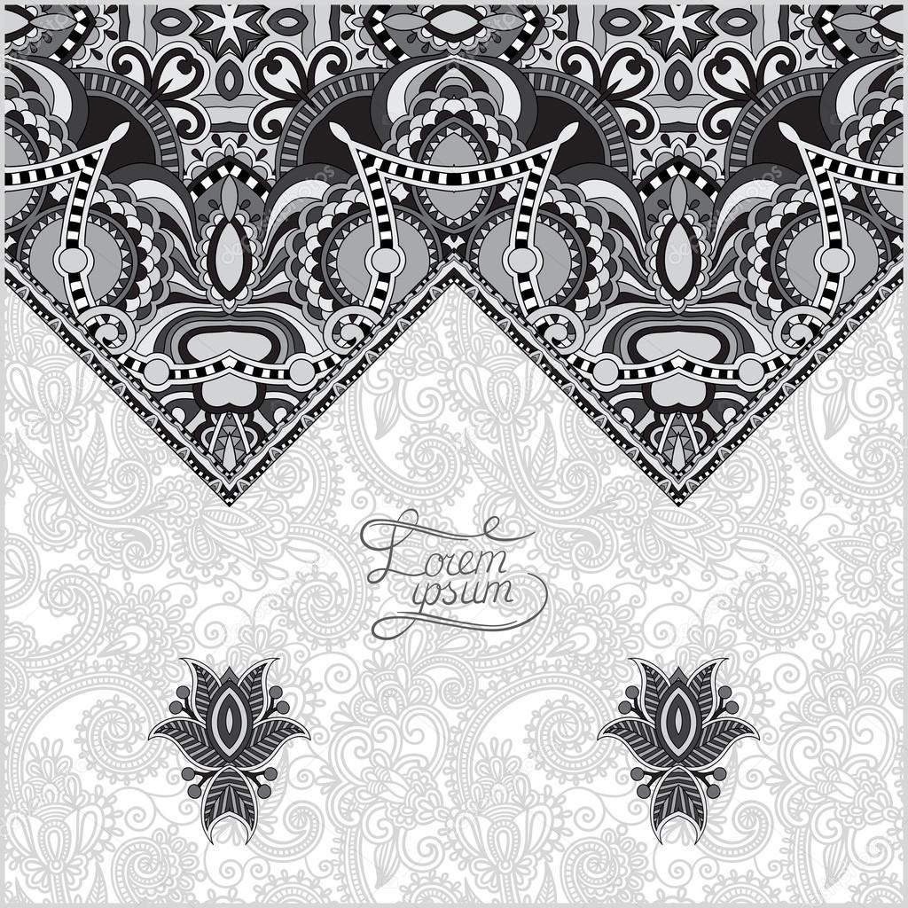 plantilla decorativa oriental gris para tarjeta de felicitación en ...