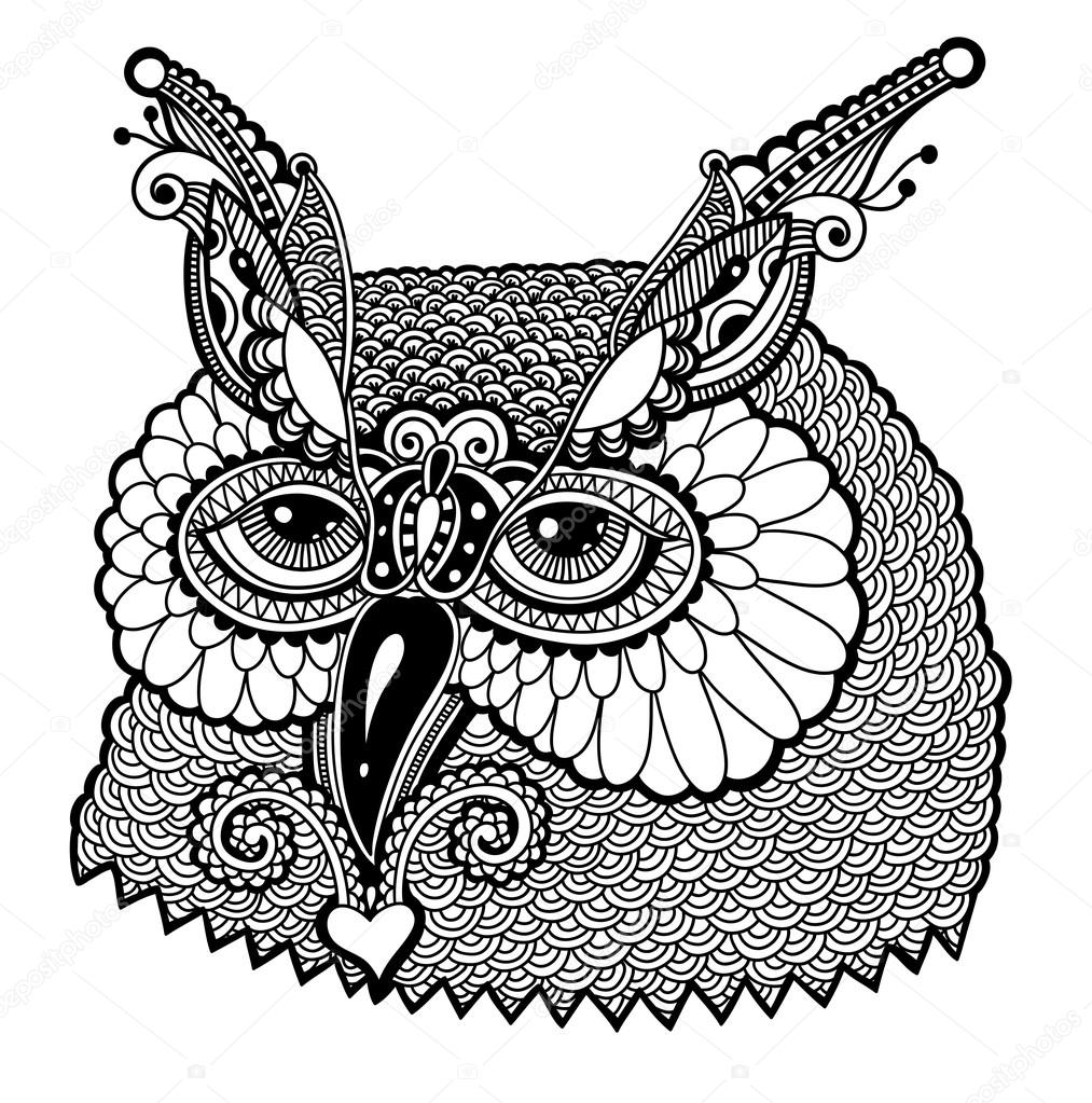 Black And White Owl Head Stock Vector Karakotsya 70918293