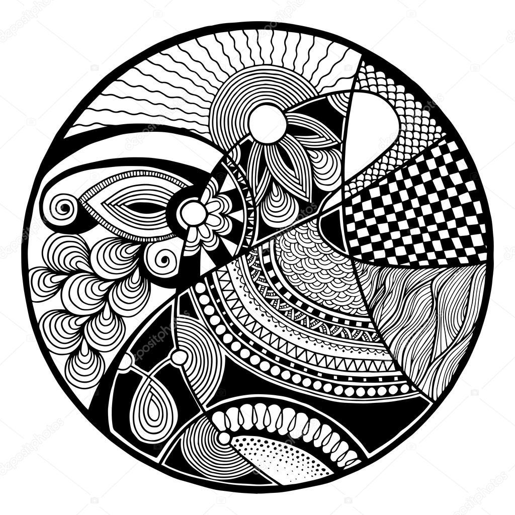 Blanco y negro abstracto zendala en c rculo vector de for Imagenes de cuadros abstractos en blanco y negro