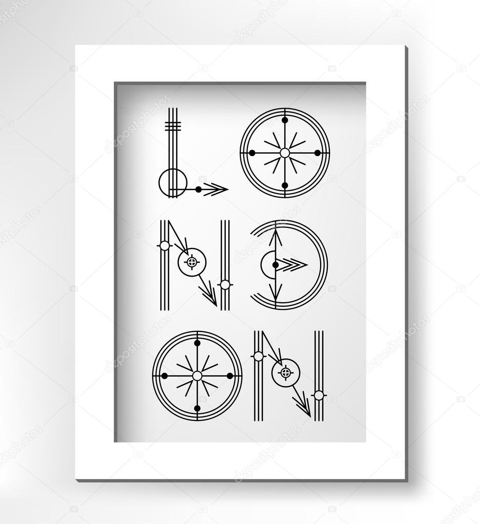 London-kreative Art-Schriftzug in weißen minimalistische Rahmen ...