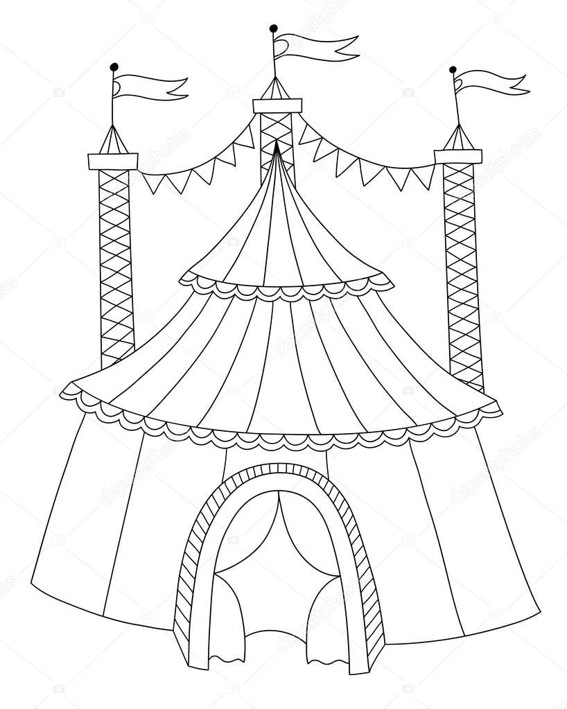 Ilustración de arte de línea blanco y negro de la carpa del circo ...
