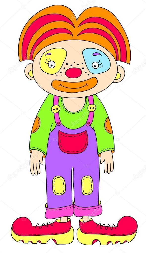 Gekleurde Lijn Kunst Tekening Van Circus Thema Clown Stockvector