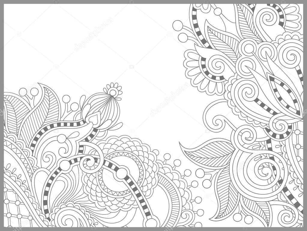 Libro Da Colorare Unica Pagina Per Adulti Disegno Paisley Fiore