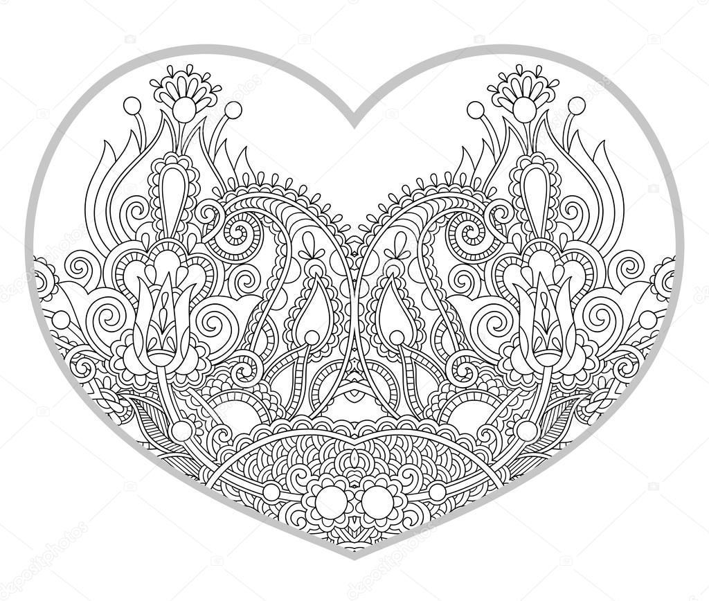 Kalp şeklinde Desen Yetişkin Ve Büyük çocuklar Için Boyama Kitabı