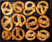 Background texture of pretzels