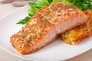 Baked salmon with  potato gratin