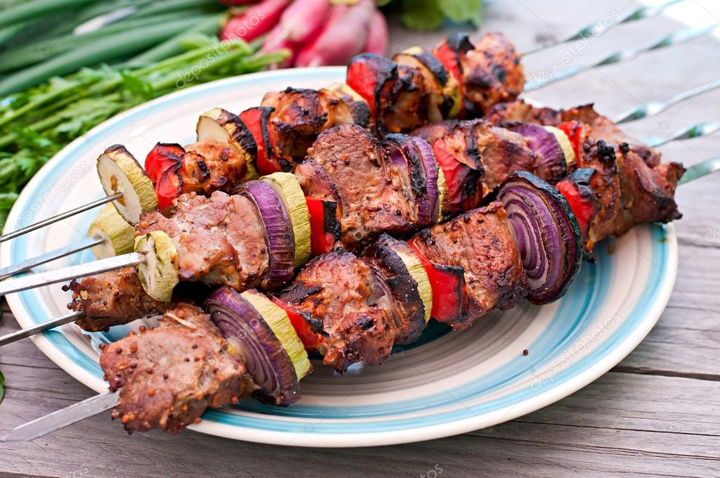 kebabs and grilled vegetables