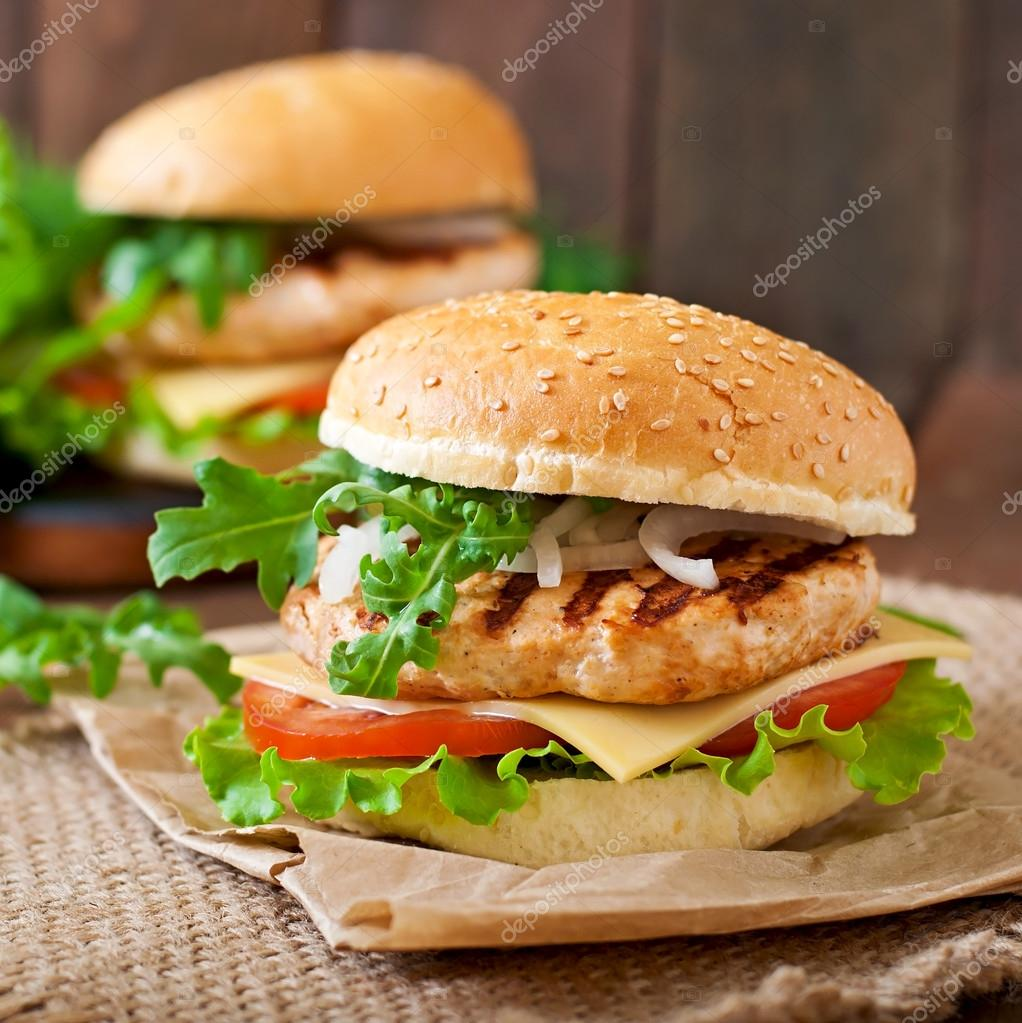 Sandwiches  with chicken burger and vegetables