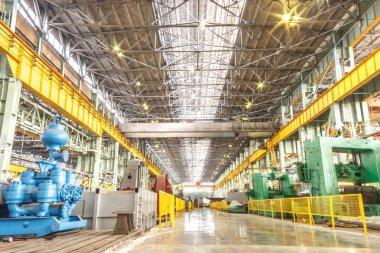 Machine shop of metallurgical works indoors room stock vector