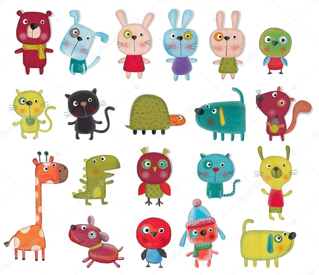 Set of cartoon characters over white