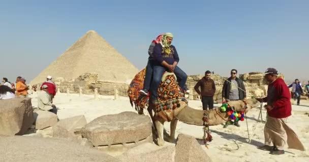 Turisté na velblouda před pyramidy