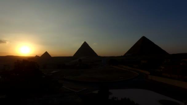 beautiful sunset at Giza pyramids