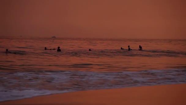 Hikkaduwa beach at sunset