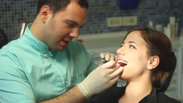 Woman at dentist's surgery