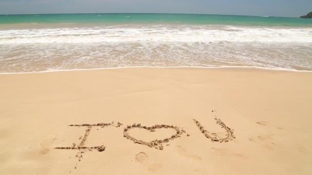 Vlny oceánu se blíží slova Miluji tě v písku na pláži