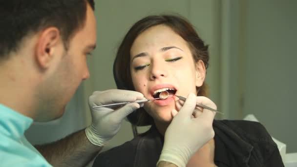 Woman at dentist surgery