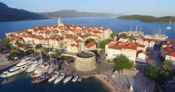 Aerial view of old fortress in Korcula, Croatia