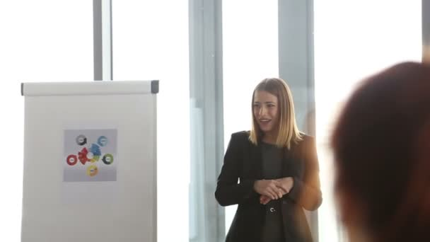 Smiling businesswoman leading a meeting in conference room