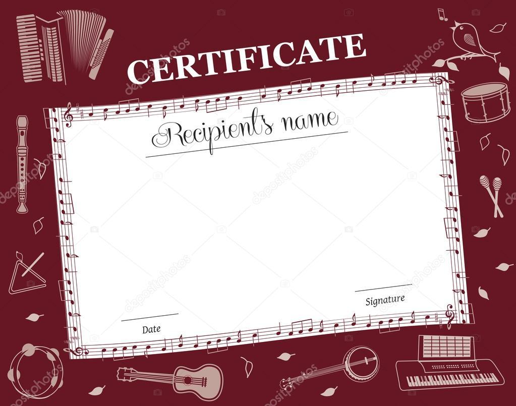 Musik-Kurs-Zertifikat — Stockvektor © Artstyle #68655713