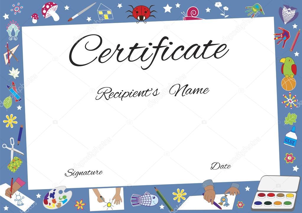 diplomas niños para editar certificado de taller de arte vector