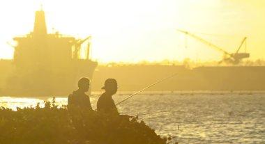 A Pair Fish at Sunset, Naval Base Coronado, San Diego