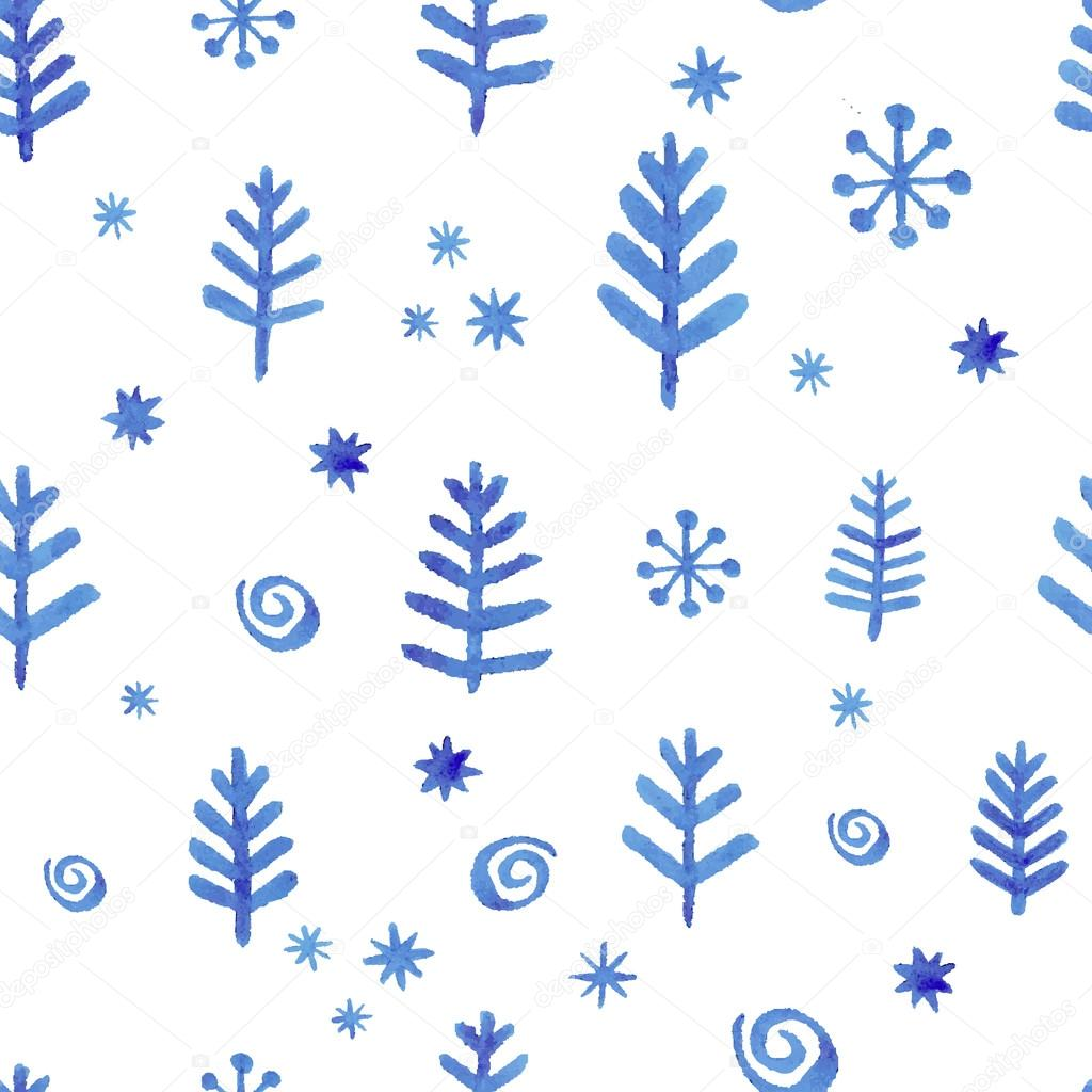 Watercolor seamless pattern with blue snowflakes