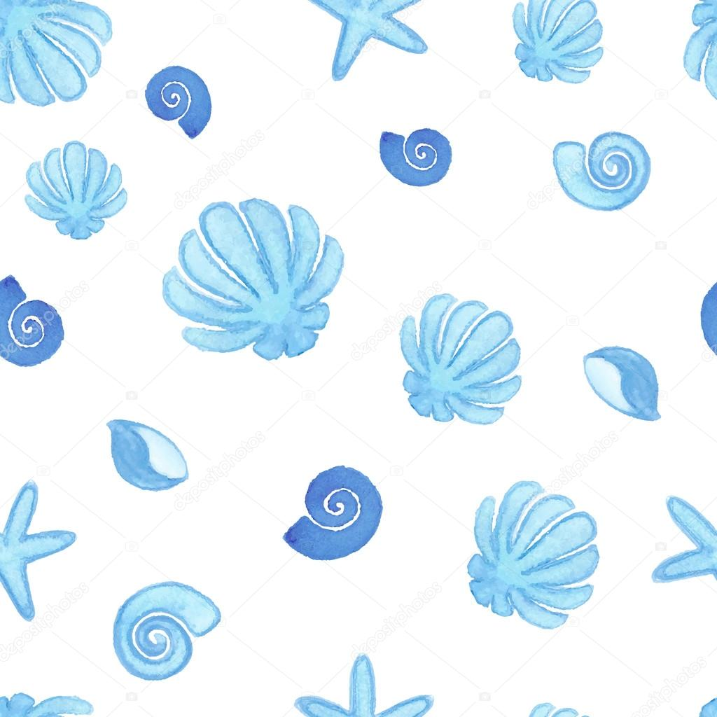 Handpaint watercolor shells seamless