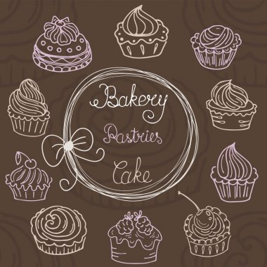 Hand  drawn seamless with set of cakes
