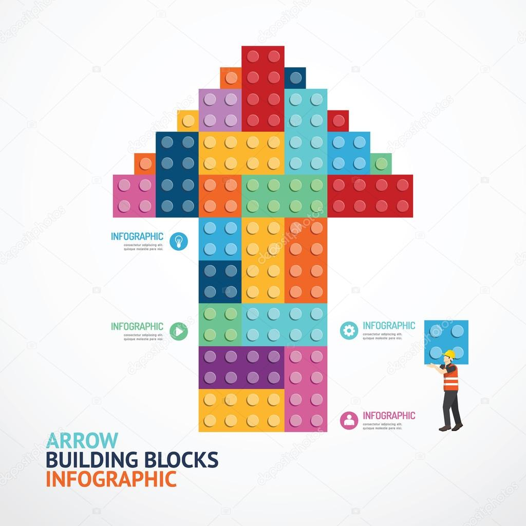 infographic template with arrow shape building blocks banner stock