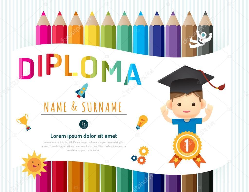 Certificado diploma de niños, ba de Kinder plantilla diseño lápiz ...