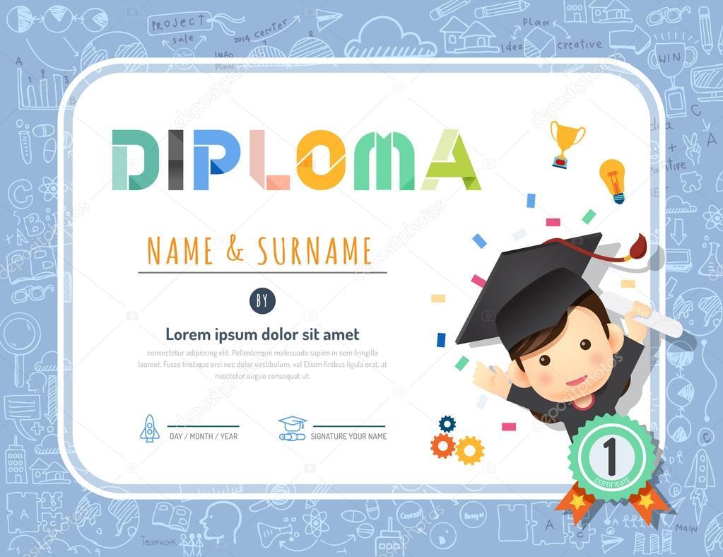 Certificado diploma de niños, jardín de la infancia plantilla ...