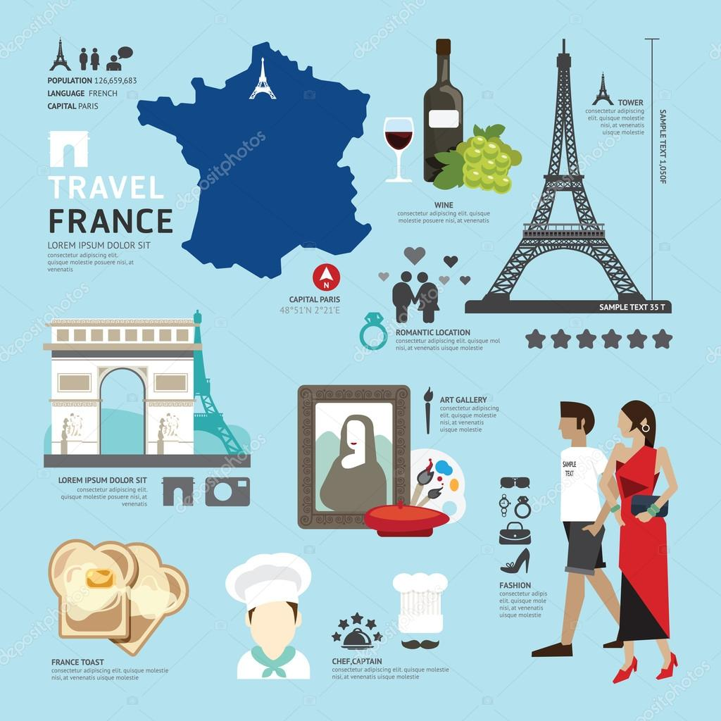 Paris,France Flat Icons Design