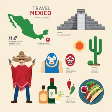 Flat Icons Design of  Mexico Landmarks