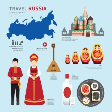 Flat Icons Design of Russia Landmarks