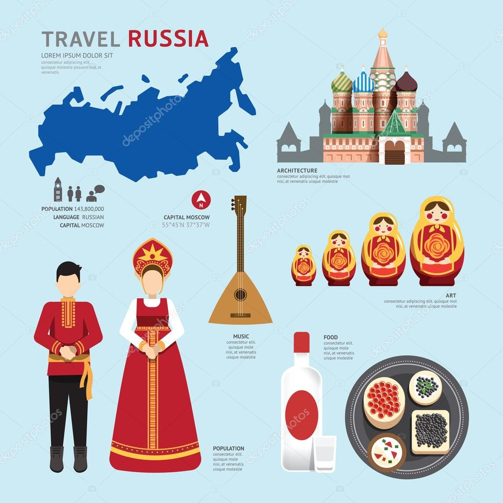 Flat Icons Design of Russia Landmarks