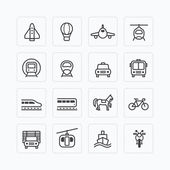 Photo Icons set of transportation outline .