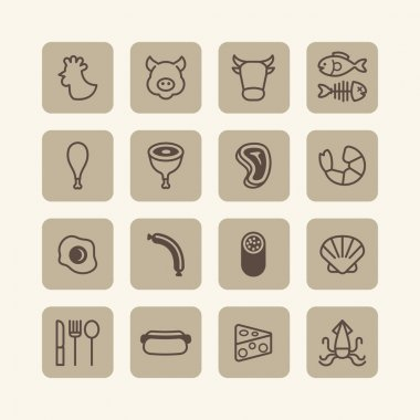Flat icons set of foods