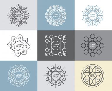 Set of calligraphic , flower templates