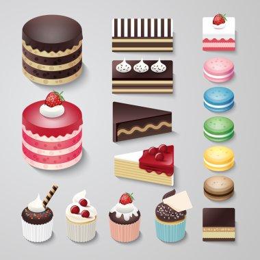 Set of Cakes flat design