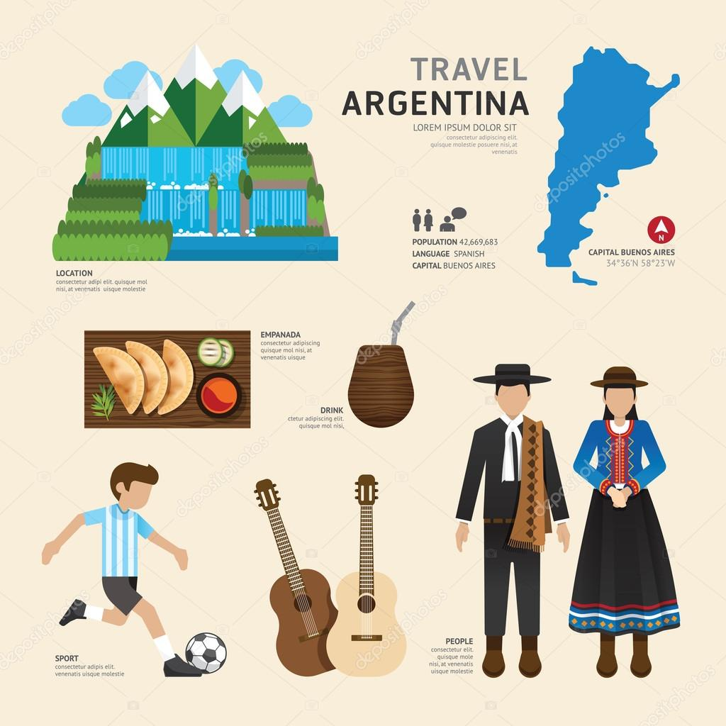 Travel Concept Argentina Flat Icons
