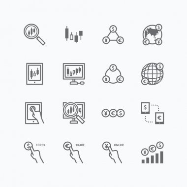 Icons set of business finance online trading