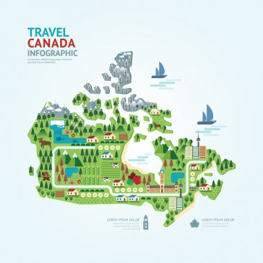 Infographic canada map shape template design